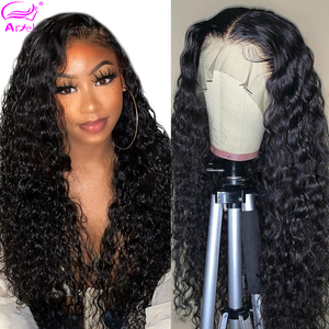 Brazilian Water Wave Wig 13*4 13*6 Lace Front Human Hair Wigs Pre Plucked Natural Hairline Remy 28 30 Inch Transparent Lace Wigs(China)