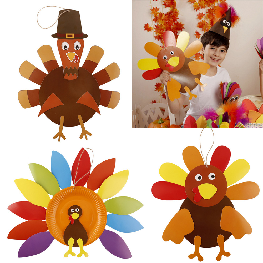 3pcs DIY Thanksgiving Turkey Ornament Handmade Craft Set Fall Thanksgiving Party Hanging Decorations