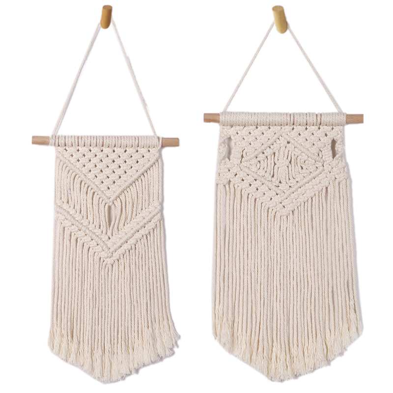 2 Pcs Macrame Wall Hanging Small Woven Tapestry Wall Art Decor Beautiful For Boho Home Decor Apartment Nursery Party