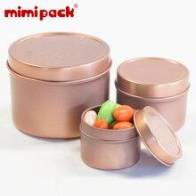 Mimipack 식품 학년 라운드 비스킷 캔디 스낵 Tinplate 주최자 금속 향신료 호의 깡통 주석 포장 상자, 24pcs