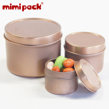 mimipack Food Grade Colored Round Biscuit Candy Snacks Tinplate Organizer Metal Spices Favors Tin Cans Tin Packing Boxes, 24pcs