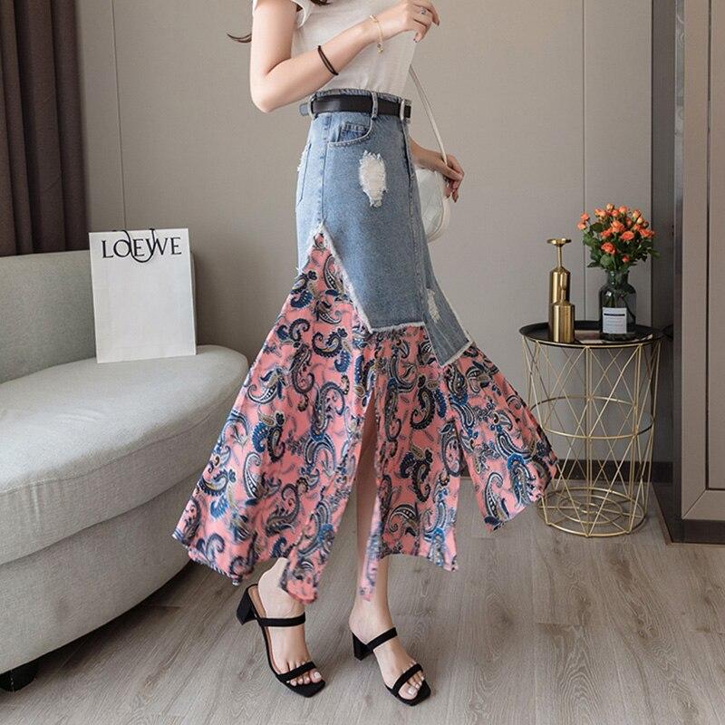 Floral Print Patchwork Women Denim Long Skirt High Waist Plus Size Casual Slim Hip jean Skirts Skater Korean Beach Summer Jurken(China)