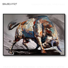 Professional Artist Hand-painted High Quality Strong Animal Bull Oil Painting Handmade for Living Room
