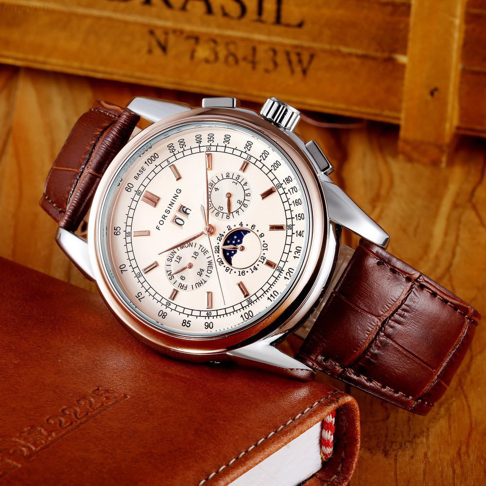 Fashion Trend, Sun And Moon, Roman Numerals, Automatic Mechanical Watch, Male Watch