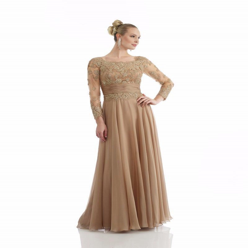 Gold Lace Mother Of The Bride Dress 2016 Elegant Party Evening Dress A line Mother Dress With Long Sleeve Chiffon prom Gown