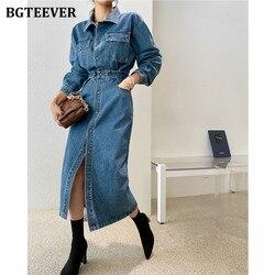 BGTEEVER Streetwear Turn-down Collar Slim Denim Dress Women Chic Single-breasted Full Sleeve Women Split Jeans Dress Femme 2020