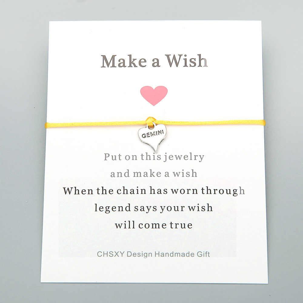 CHSXY lindo amor corazón Gemini pulsera deseo tarjeta regalo para buen amigo hecho a mano ajustable trenzado colorido pulsera Pulseras