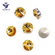 Yanruo 1122 rivoli luz topázio diamante strass para roupas costurar em strass pedras de costura diamantes artesanais