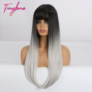 Image 4 - TINY LANA Long Colorful Straight Synthetic Wigs Black Ombre Brown with bangs for Black Women Heat Resistant Party&Cosplay Hair