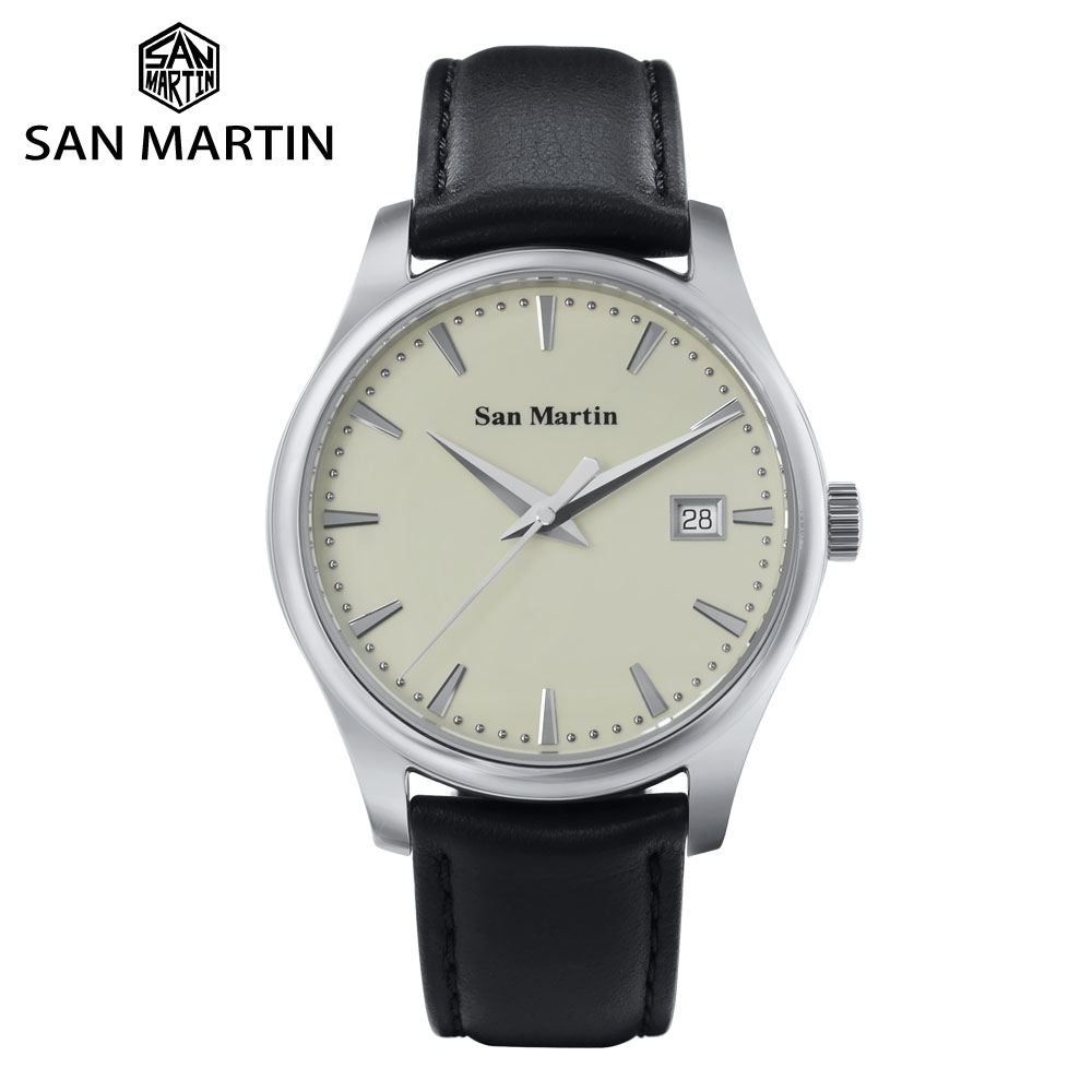 San Martin Business Men Automatic Mechanical Watch Fashion Simple Swift Leather Sapphire See-through Case Back Date Window