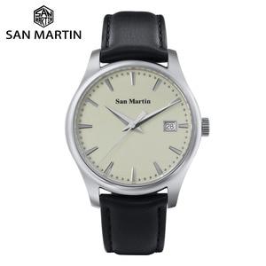 Image 1 - San Martin Männer Kleid Uhr Business Automatische Mechanische Watche Mode Swift Leder Sapphire Sehen durch Fall Zurück Datum Fenster