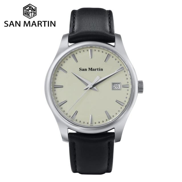 San Martin Männer Kleid Uhr Business Automatische Mechanische Watche Mode Swift Leder Sapphire Sehen durch Fall Zurück Datum Fenster