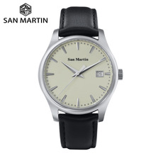 San Martin montre Business mécanique automatique, montre transparente en cuir, saphir, mode, boîtier arrière avec fenêtre