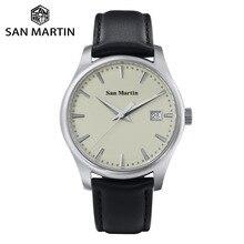 San martin vestido masculino relógio de negócios automático mecânico watche moda couro swift safira ver através caso data traseira janela