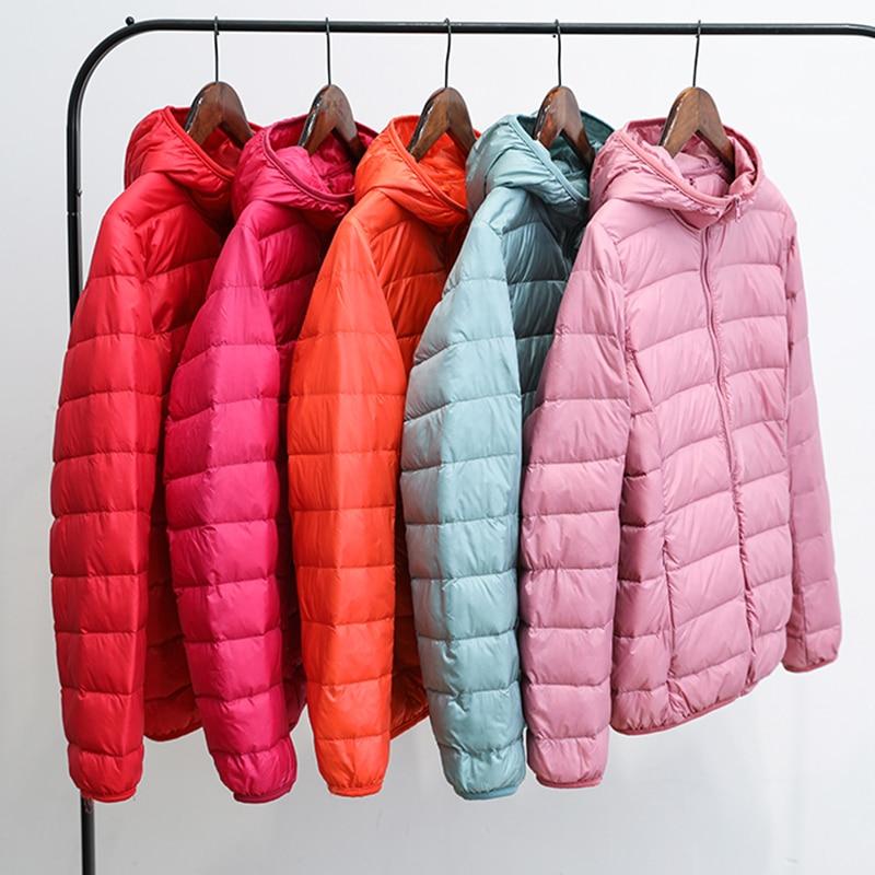 High Quality 2019 New Autumn Winter Women Thin White Duck Down Jacket Parka Female Ultra Light Down Coat Short Tops Plus Size