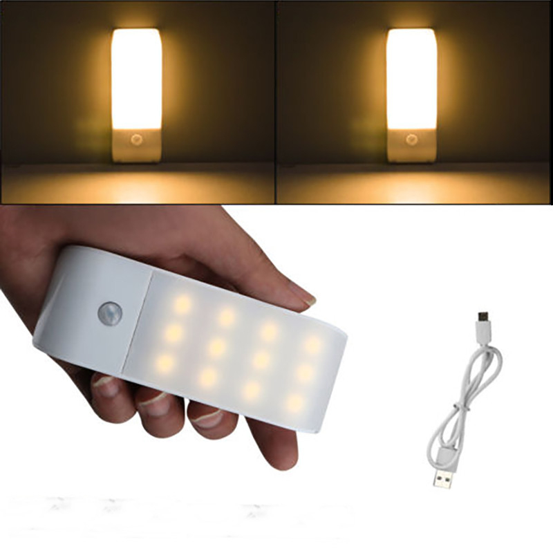 12 LED USB Rechargeable Kitchen PIR Motion Sensor LED Light Bedroom Portable Wireless Wall Lamp Night Light LED Lights For Home