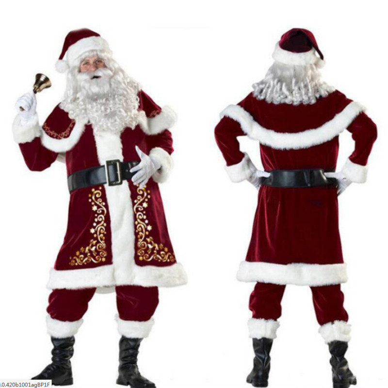 M-XXXL 2020 Hot Deluxe Velvet Christmas Santa Claus Suit Adult Mens Costume Gloves + Shawl+hat+clothes+belt+Foot Cover+gloves