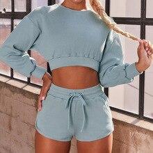 Cotton 2PCS Yoga Set Casual Sport Suit Workout Clothes For Women Outfit Fitness Gym Suit Wportwear Women Set Long Sleeve Top