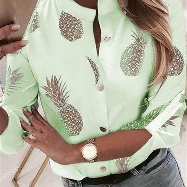 2020 New Pineapple Blouse Shirt Women Autumn Summer Casual Tops Outwear Fashion Button Fruit Print Blouse Shirts Female Clothes 4