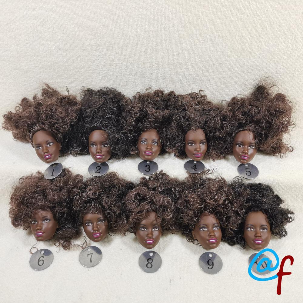 B17-1 Original Foreign Trade European Beauty Brown 1/6 OOAK NUDE Doll Head Mussed Hair For DIY Soft PVC Head