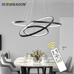 Image 2 - Koło wisiorek Led Light 9/6/5/4/3 pierścienie nowoczesna lampa wisząca mocowanie sufitowe salon sypialnia jadalnia kuchnia lampy wiszące
