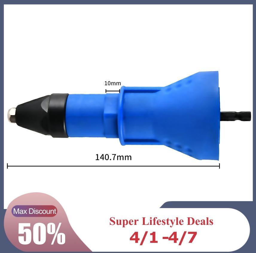 Electric Nail Gun Cordless Riveting Drill Adaptor Rivet Nut Tool Insert Nut Tool Riveting Drill Adapter  Blue Rivet Nut Tool