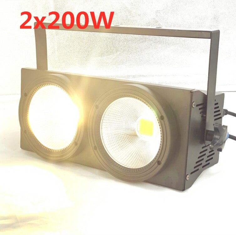 Nouveau 2 yeux 2x100w LED blanc chaud 3200K 200W LED lumière d'audience DMX LED COB 200W LED stroboscope dj lumière lavage faisceau effets de scène