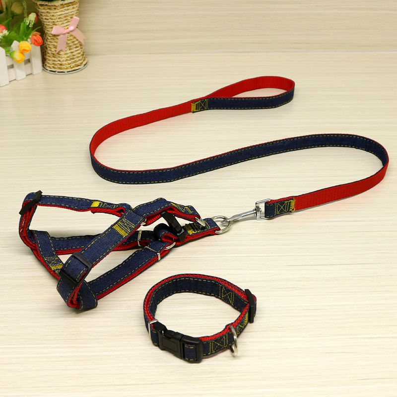 Dog Teddy Denim Traction Corgi Rope Neck Ring Dog Chinlon Retractable Dog Dog Chain Pet Supplies