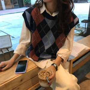 Sweaters Womens Pullovers Vest Knitted Plaid Korean-Style Vintage Autumn Winter Sleeveless