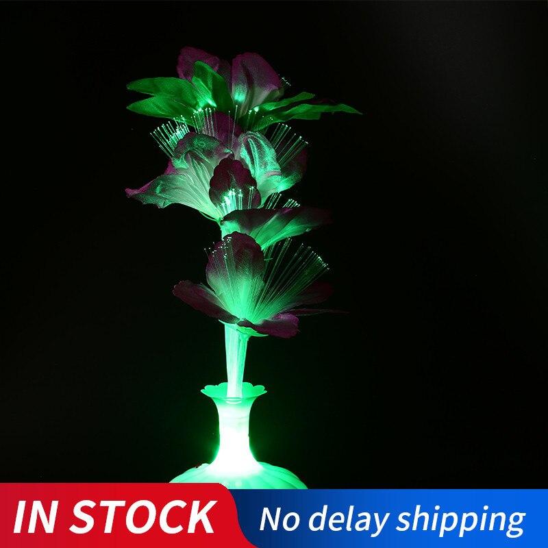 1 шт. светодиодная искусственная Цветочная лампа из оптического волокна настольная лампа ваза для цветов ночник украшение для домашнего декора вечеринки