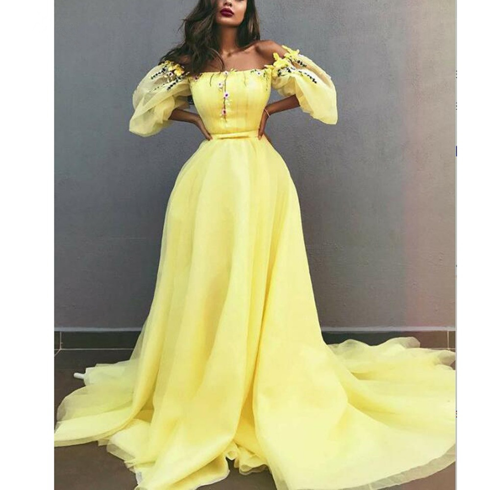Pretty 2020 Lemon Yellow Floral Evening Dresses With Puffy Full Sleeves Fashion A-line Evening Gows Slash Neck Off Shoulder