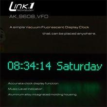 LINK1 9608 vfd 時計音楽オーディオ vu メーターオーディオスペクトル cnc ワンピース成形アルミ shellt 調整可能な光速度 agc