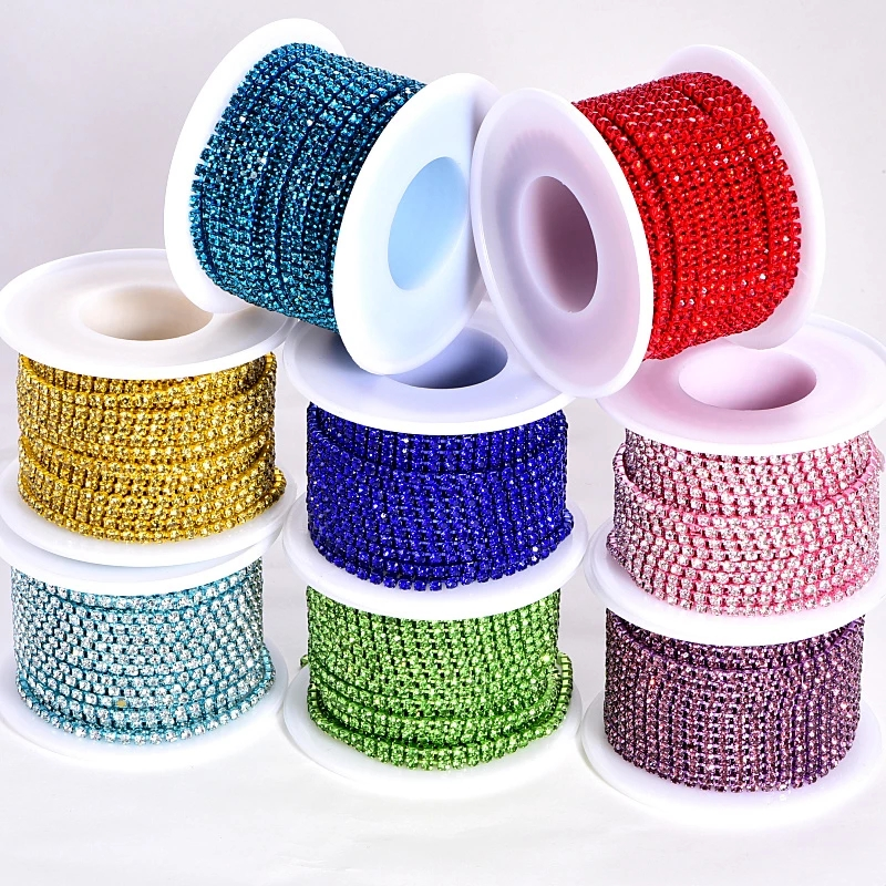 Новый Цвет 10 ярдов цепочка со стразами Пришивные клей для алмазов-на близком расстоянии цепи стразы набор «сделай сам» для пришить одежды т...