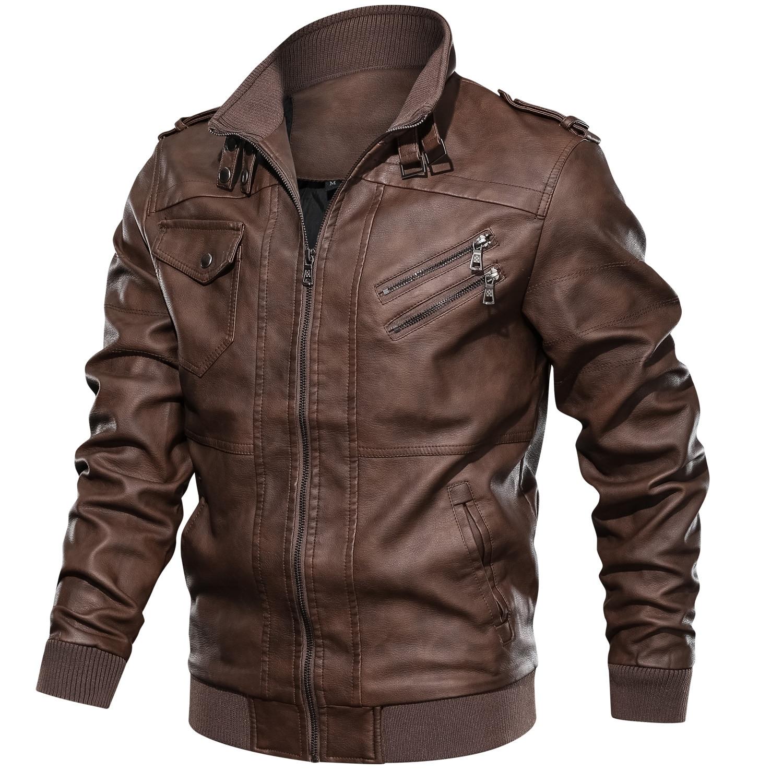 แจ็คเก็ตหนังผู้ชายคลาสสิกรถจักรยานยนต์ชายเสื้อหนัง faux Dropshipping-ใน เสื้อโค้ทหนังสังเคราะห์ จาก เสื้อผ้าผู้ชาย บน   1