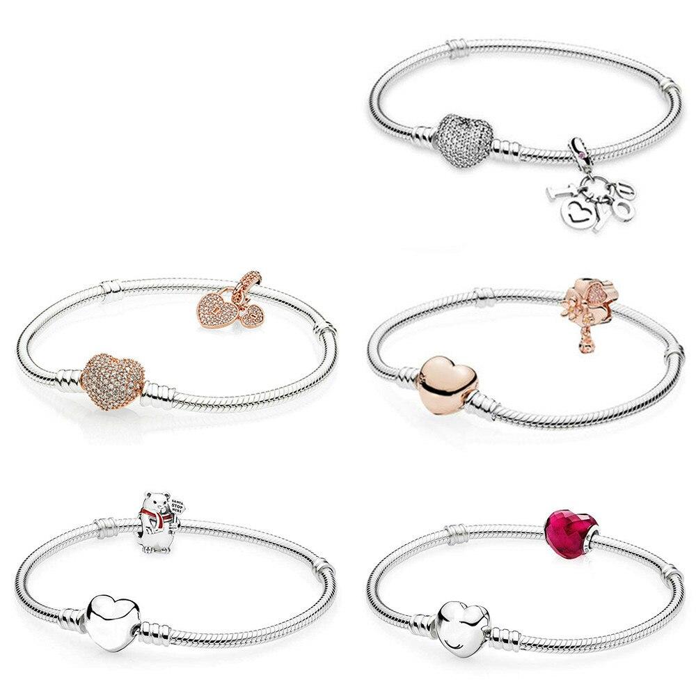 Nouveau 100% 925 argent Sterling forme d'amour ROSE fleur sauvage prairie ours amour serrures je t'aime pendentif breloque coeur Bracelet ensemble