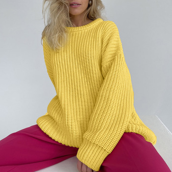 Women's Knitted Thicken Pullovers Sweater Autumn Winter Oversize Long Sleeve Casual Loose Sweaters Female Solid 2021 Ladies Top 2