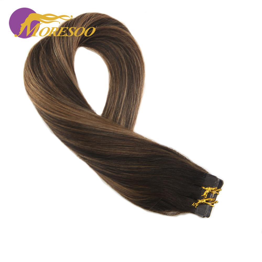 Moresoo Hair Extensions Human Hair Tape In Machine Remy Hair Balayage Brown Color #2 And #6 Natural Straight Real Hair