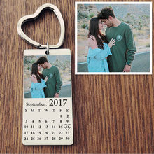 Personalized Custom colour photo Calendar KeyChain Stainless Steel Heart Date Engrave Date Anniversary Women Family Gift