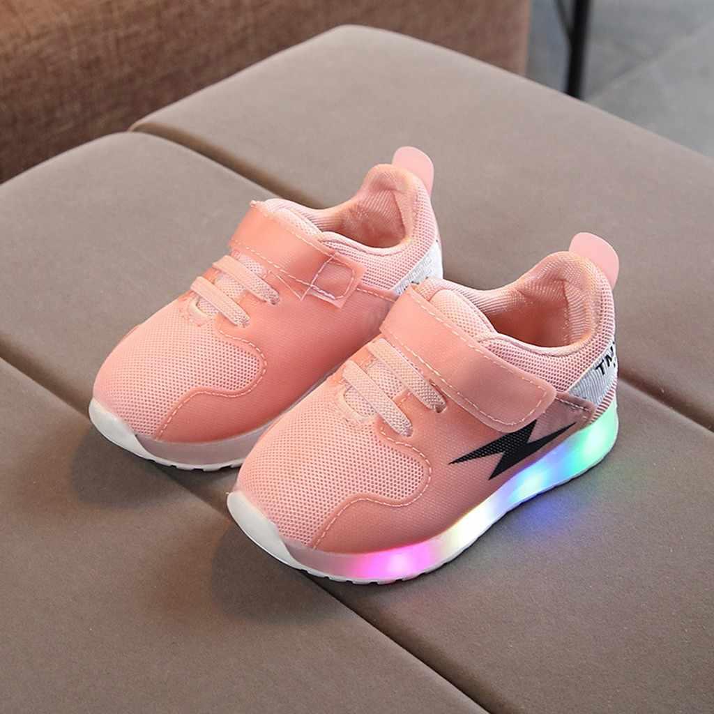 Niños Niñas niños Zapatos Niño Infante niños zapatos letra cristal Led luz luminosa correr zapatillas deportivas zapatillas #3