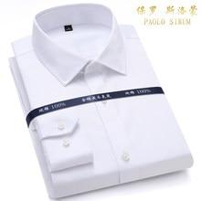 Chemises formelles à manches longues pour hommes, de haute qualité, en pur coton blanc, coupe cintrée, pour le bureau