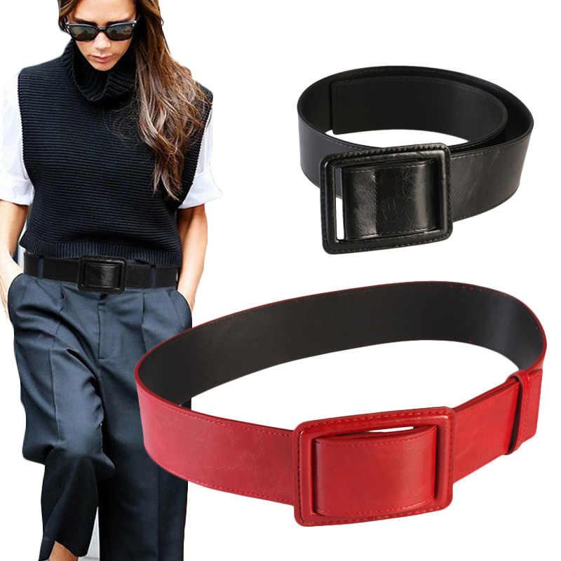 105*5.5 Màu Cam Siêu Rộng Dây Thắt Lưng Nữ Đơn Giản Trang Trí Đen Thời Trang Hoa Mai Dây Đầm Đỏ Da Eo Niêm Phong
