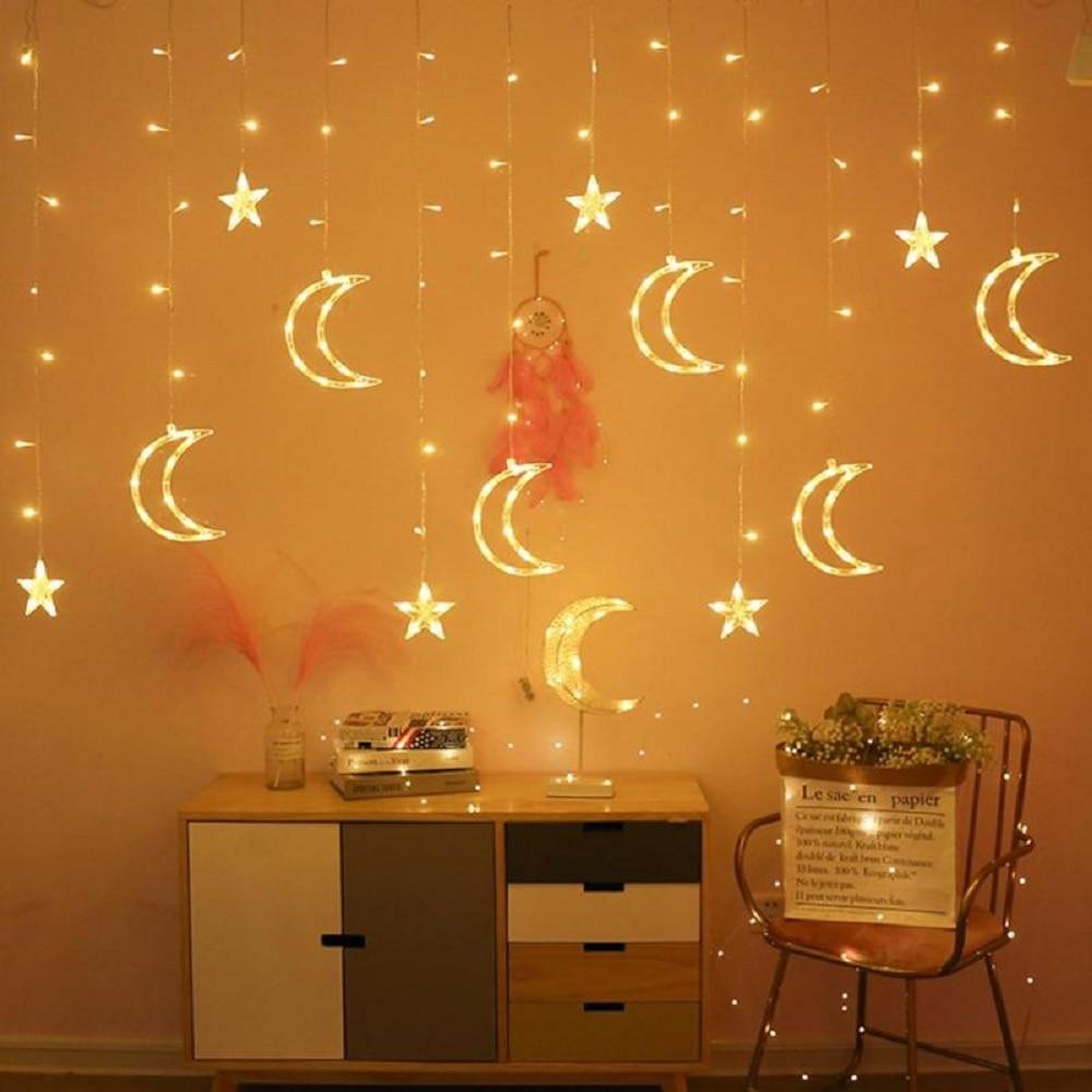 Star Moon String Lights Indoor Room Decoration LED Curtain Light 6star+6moon AC Plug 220V Power Wedding Party Fairy Light Chain