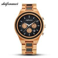 Shifenmei Wooden Watch Men Wood Band Wrist Watch Chronograph Quartz Watches Luxury Timepieces Christmas Gifts relogio masculino Quartz Watches     -