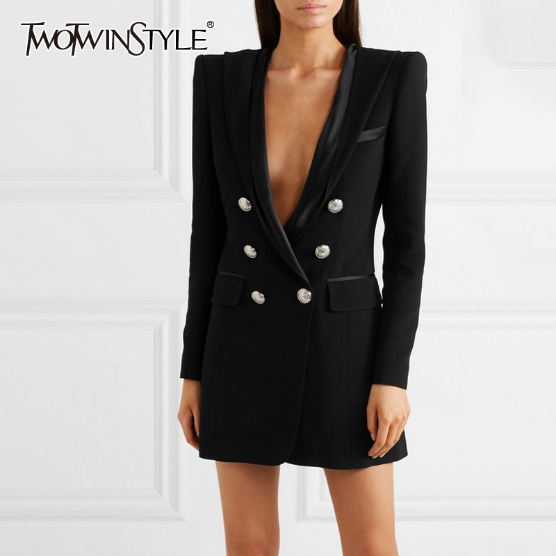 TWOTWINSTYLE Elegant Women's Blazer Notched Collar Long Sleeve Double Breasted Solid With Hooded Female Jacket 2020 Autumn New