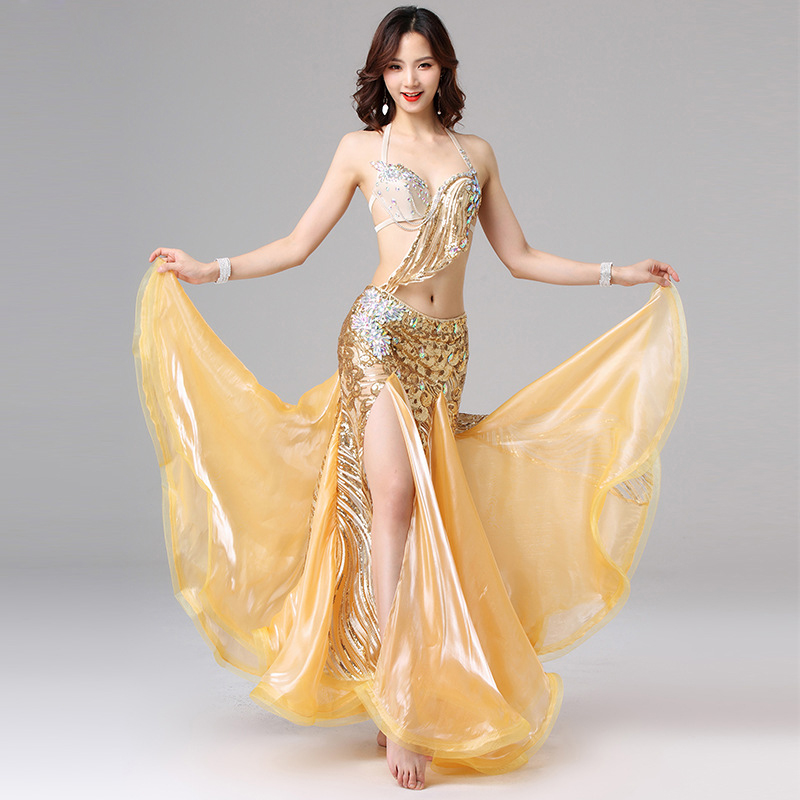 2019 Women Dance Performance Beaded Outfit Cup 34B/36B Egyptian Belly Dance Costume Set Gold Bra And Skirt