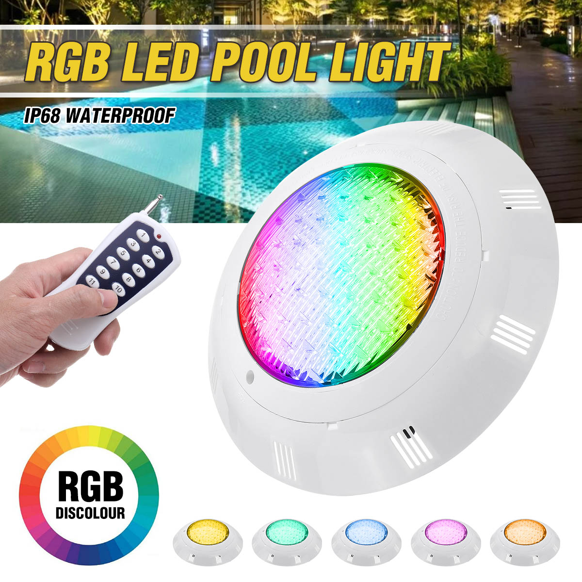 Super Bright 45W 450LED RGB Swimming Pool LED Light With Remote Control IP68 Waterproof Pond Lights Underwater Lamp