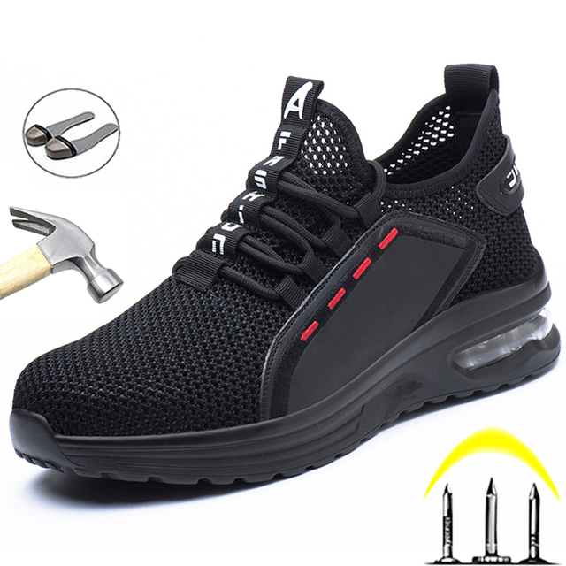 Breathable Men Work Safety Shoes Anti-smashing Steel Toe Cap Working Boots Construction Indestructible Work Sneakers Men Shoes 1