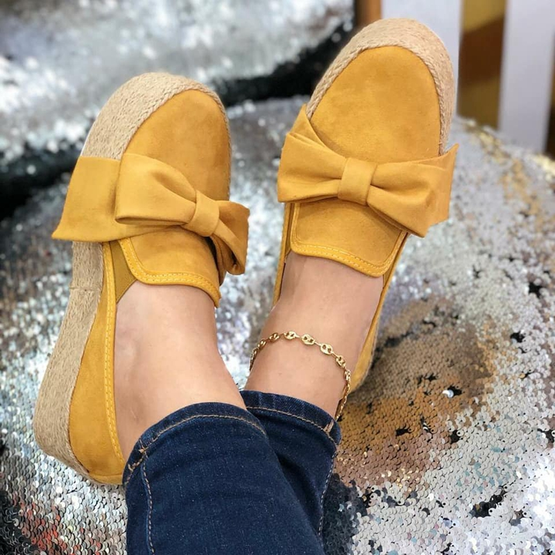 Nice Spring Women Flats Shoes Platform Sneakers Nice Slip On Bow Flats Leather Suede Ladies Loafers Moccasins Casual Shoes