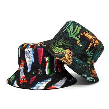 Kreatywna dżungla Leopard kapelusze wiadro dla kobiet męska Panama żaba nadrukowana ryba Bob kapelusz Hip Hop odwracalne słońce kapelusz na ryby kapelusz tanie i dobre opinie Na wiosnę i lato POLIESTER Drukuj Dla osób dorosłych CN (pochodzenie) CASUAL Unisex Ochrona przed słońcem Mieszkanie