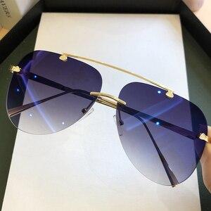 Vintage Rimless Alloy Aviation Pilot Sunglasses For Men 2020 Brand Gradient Sun Glasses Female Metal Oval Shades Black Brown